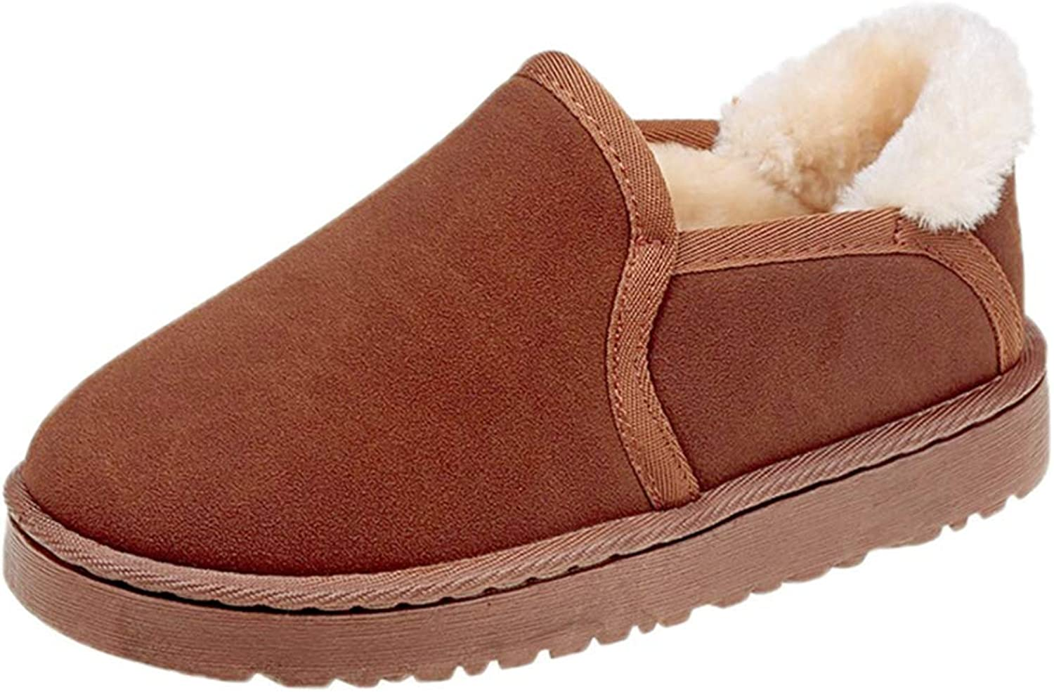 Winter Women Snow Boots Faux Seude Thick Plush Low Heels Slip-On Ankle Boots, Indoor and Outdoor