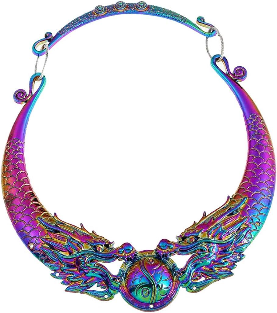 Esquirla Fahsion Dragon/Peacock Colorful Chunky Necklace Collar Choker - Dragon