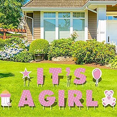 GFT IT'S A Girl Pink Baby Shower Yards Sign with Stakes – Girl Baby Outdoor Lawn Decorations-Each Letter is 18in Tall-Bonus Star, Teddy Bear, Milk Bottle and Balloon Signs