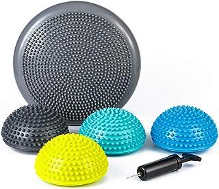 StrongTek Hedgehog Balance Pods with Hand Pump, Stability Balance Trainer Dots Plus Large Balance Pad, Core Body Balancing...