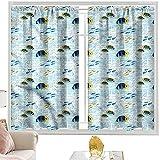 Cortinas para dormitorio, acuario, peces tropicales, vida marina, 52 x 54 pulgadas de largo x 54 pulgadas, cortinas de bolsillo de barra para dormitorio