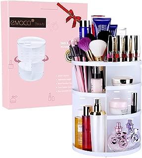 EMOCCI 360 Rotating Makeup Organizer Adjustable Spinning Cosmetic Storage Box Case Large Capacity Make Up Holder Vanity Shelf Fits Counter top Bathroom Kitchen(white)