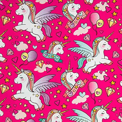 Geschenkpapier Kinder 70cm x 2m Rolle Motive: Einhorn rosa