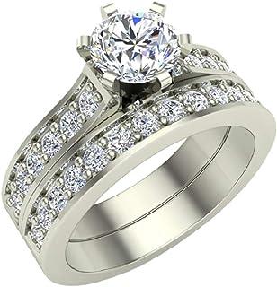 1.10 ctw Cathedral Round Brilliant Diamond Wedding Ring Set 14K Gold (J,I1)
