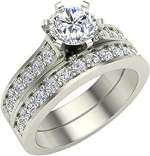 Diamond Wedding Ring Set for Women Bridal Sets 14K Gold - 1.10 ctw Cathedral Style (J,I1)