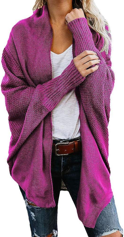 FABIURT Sweaters for Women, Womens Fashion Long Sleeve Open Front Chuny Knit Sweater Cardigan Casual Loose Outwear Coats