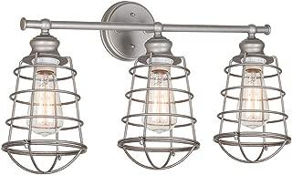 Design House 519728 Ajax 3 Light Vanity Light, Galvanized Steel Finish
