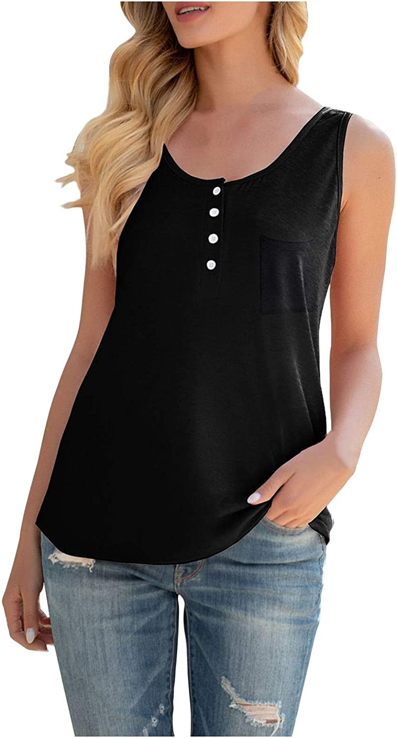 5665 Womens Tank Tops Loose Fit Button O-Neck Sleeveless Casual Vest T-Shirt Blouse with Pocket Tank Tops