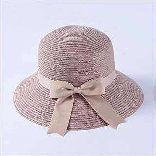 SHENTIANWEI Spring and Summer hat Ladies Elegant Dome Bow Straw hat Japanese Breathable Cotton Yarn Soft Sunscreen Visor (Color : Purple)