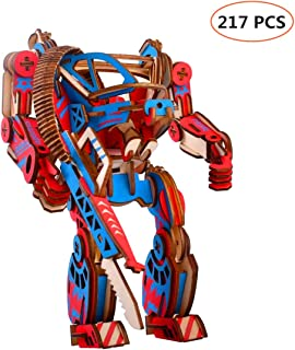 H2solution 3D Wooden Puzzle Mecha Craft Kit , DIY Educational Assembly Mechanical Model Toy Brain Teaser for Kids and Adults (217 Pcs)