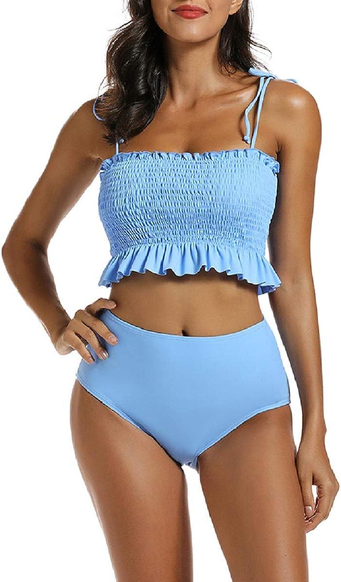 MOLYBELL Women High Waisted Petite Bikini Sets, Bandeau Ruffled Strapless Smocked Tummy Control 2 Piece Bathing Suit Swimsuit