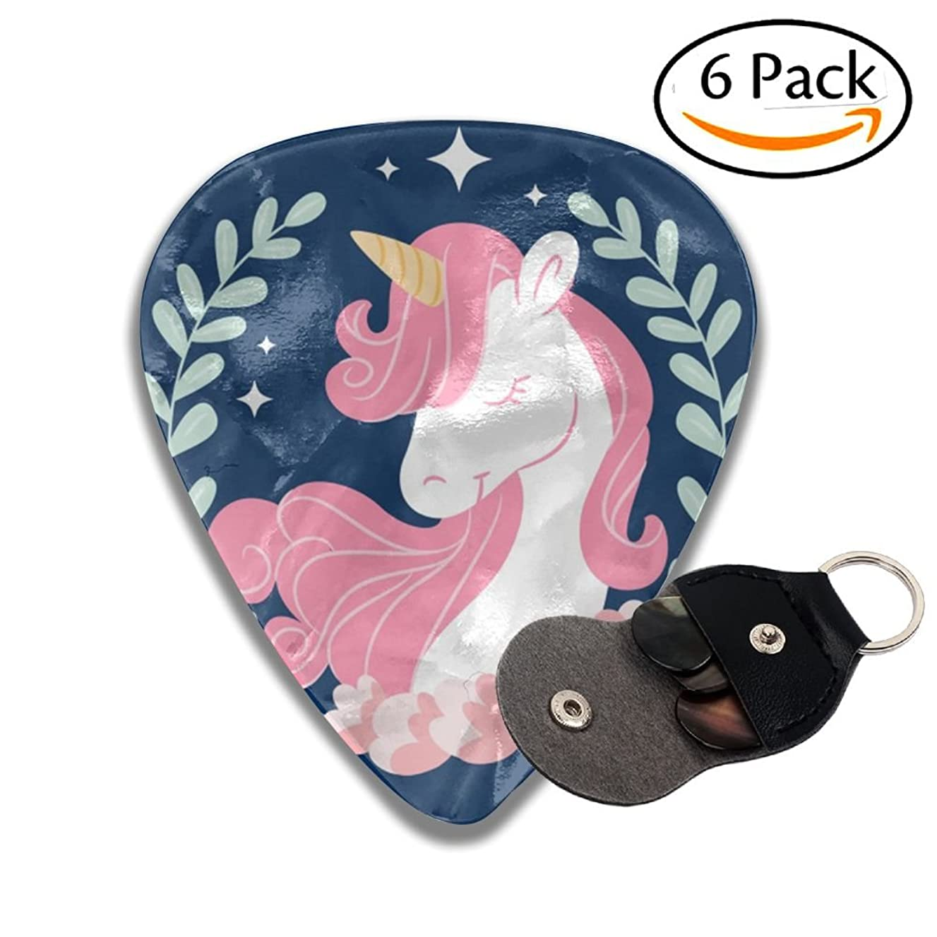 Pink Unicorn Celluloid Guitar Picks 6 Pack Includes Thin, Medium, Heavy & Extra Heavy Gauges