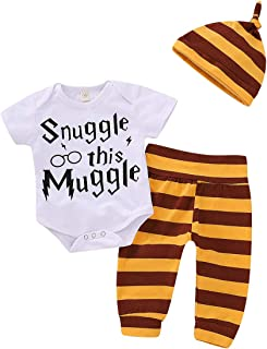 Baby Boys' 3-Piece Long or Short Sleeve Bodysuit Shirt Pants and Hat Clothes Set