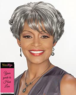 Charlotte Wig Color 3T51 - Foxy Silver Wigs Short Wedge Style Stacked Layers Wispy Side Swept Bangs Synthetic African American Average Cap Bundle with MaxWigs Hairloss Booklet