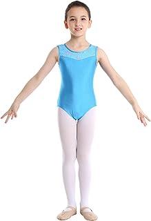 IEFIEL Maillot 1 Pi/èce Enfants Filles Maillot de Bain sans Manches Leotard Justaucorps Gymnastique Ballet Danse Patinage Combinaison Yoga Sport Criss-Cross Bretelles Jumpsuit 4-12 Ans