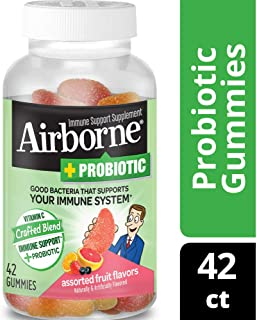 Vitamin C 750mg - Airborne Plus Probiotic Gummies (42 count in a bottle), Gluten-Free Immune Support Supplement with Echinacea and Ginger, Packaging May Vary