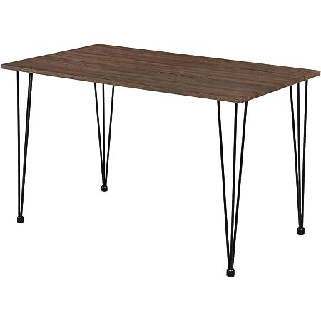 [en.casa] Table de Salle à Manger Cuisine Salon pour 4 Personnes Plateau MDF Pieds Acier Épingle à Cheveux 120 x 70 x 75 cm Aspect Noyer et Noir
