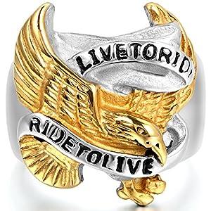 JewelryWe Schmuck Biker Herren-Ring, Edelstahl, Live to Ride - Ride to Live Retro Adler Falke Flügel, Gold Schwarz Silber - Größe 65