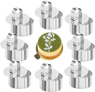 Tomicy Cercle Patisserie Emporte Pièce,Mousse Anneaux en Acier Inoxydable Gâteau Cercle Moule à Cake avec Poussoir, 8 cm d...