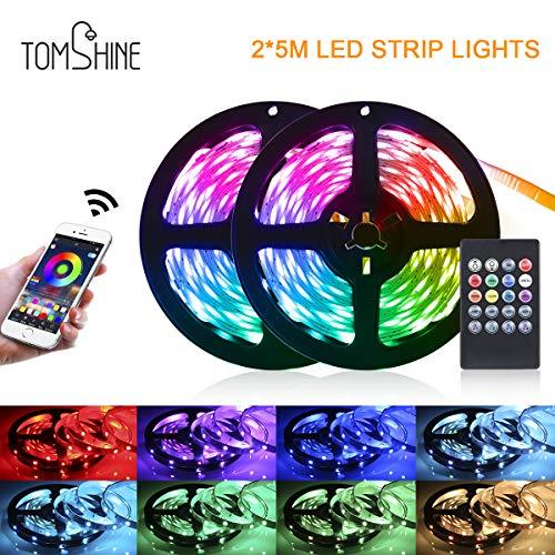 LED Strip 10m, Tomshine LED Streifen mit Fernbedienung,LED band for APP Steuerbar, Musical 5050 RGB LED Stripes Lichterkette Band für Zuhause, Schlafzimmer, TV, Schrankdeko, Party[Energieklasse A+]