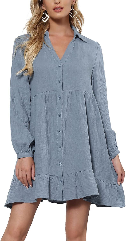 Kate Kasin Women's Summer Short Sleeve V Neck Button Down Casual Swing Short Dress