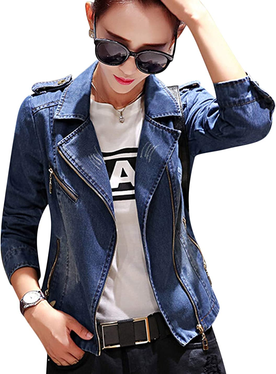 Uaneo Women's Autumn Notch Lapel Zip Up Slim Short Denim Jean Suit Jackets (Blue, Medium)