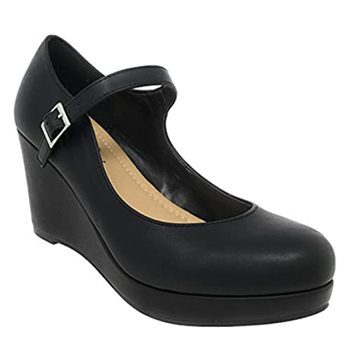 a1334a890225 City Classified Womens Mark Thomas Mary Jane Strap Comfortable Office Dress  Platform Wedge Heel MVE Shoes
