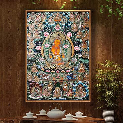 Z.L.FFLZ Tibetisch Buddha Malerei Thangka Indien Chinesische Religion Stil Leinwand Druck Malerei Poster Kunst Wandbilder für Flur Wohnkultur (Color : Kostenlos, Size (Inch) : 21x30cm)