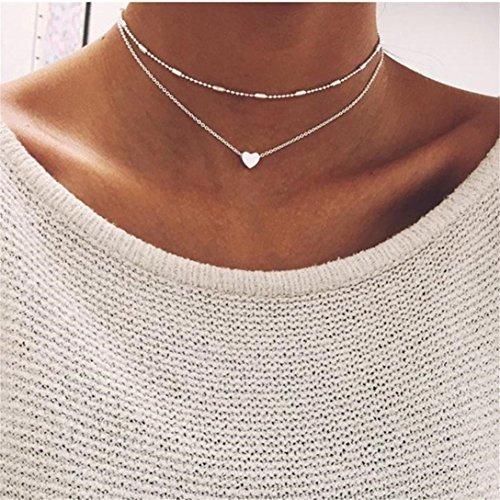 Banbo&Yohi einfacher silberner Baumblatt-Perlen-Anhänger für Damen, Quaste, Legierung, kurze Halskette, S-11.