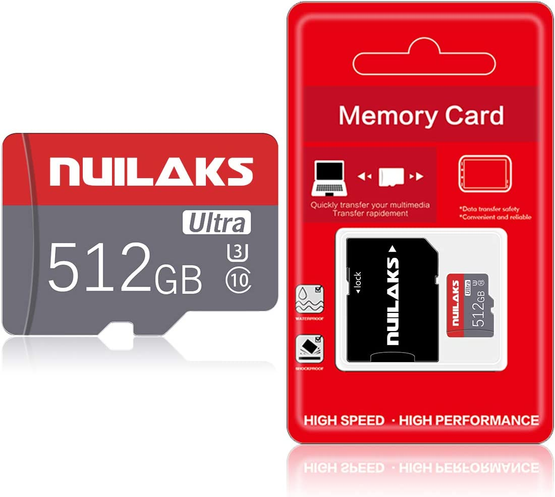 512GB Micro Card with Adapter (Class 10 High Speed) Memory Cards for Camera, TF Memory Card for Phone Computer Game Console, Dash Cam, GPS, Surveillance, Drone