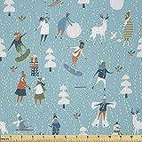 Lunarable Weihnachtsstoff von The Yard, Winterspiele-Muster