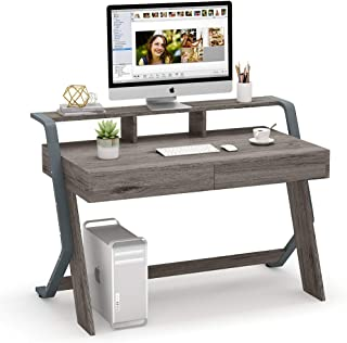 Tribesigns Computer Desk with 2 Storage Drawers, 47-Inch Writing Desk with Monitor Stand Riser, Vintage Rustic Office Desk Computer Table Stuying Workstation for Home Office