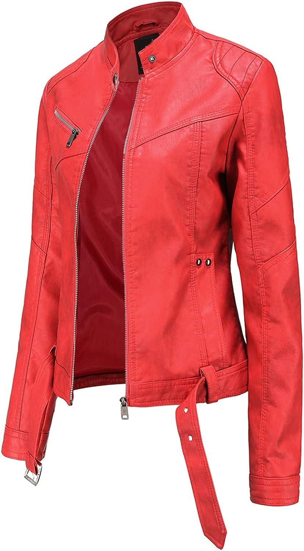 Women Leather Coat Stand-Up Collar Motorcycle Outwear Jacket Full Zip Slim Lightweight Moto Biker Outerwear Plus Size