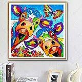 Kit De Pintura De Diamantes 5D Para Manualidades,Vaca colorida Diamond Painting 40x40cmbordado de punto de cruz, para la decoración de la pared del hogar