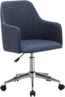 Porthos Home Duncan Office Chair With Adjustable Height, Fabric Upholstery, 360° Swivel, Armrests And Roller Caster Wheels, Blue