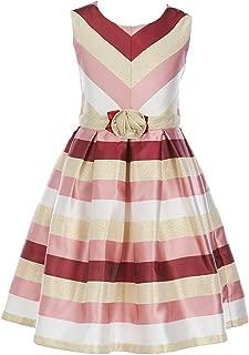Big Girl's 7-16 Sleeveless Stripe Mettalic Party Dress
