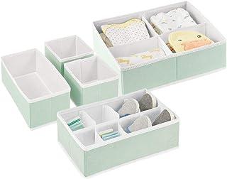 mDesign Soft Fabric Dresser Drawer and Closet Storage Organizer Set for Child/Baby Room or Nursery - Set of 5 Organizers -...