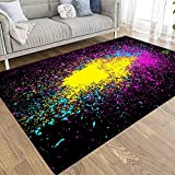 Capsceoll Cozy Area Rug Colorful Acrylic Explosion Paint Splatter Vector Small Drops Spots Color Isolated Black Background Neon 5X7 Area Rugs Soft Durable Area Rug for Kids for Living Room Bedroom
