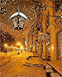 N\A Kits De Pintura por Números para Adultos - Kits De Regalo De Pintura Al Óleo DIY para Adultos Principiantes - Escena De Nieve De Invierno Escena Callejera Nocturna