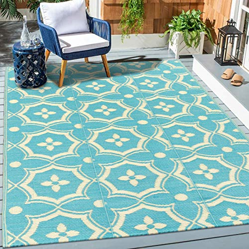 HEBE Large Outdoor Rug 6'x9',Patio Rugs,Reversible Mats, Plastic Straw Rug, Large Floor Mat Rug for Outdoors, RV, Patio, Backyard, Deck, Picnic, Beach, Trailer, Camping