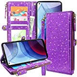 Lacass Premium Leather Flip Zipper Wallet Case Cover Stand Feature with Card Holder and Wrist Strap for Moto G Power 2021(not fit g Power 2020) (Bling Purple)