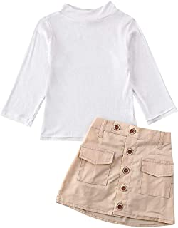 BOIZONTY Kid Baby Girl Long Sleeve Turtleneck Knit T-Shirt Top Button Down Short Skirt with Pockets Fall Outfits Set (Button Skirts, 6-7 Years)