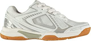 Official Brand Slazenger Indoor Shoes Womens Trainers White/Silver Badminton Sports Footwear