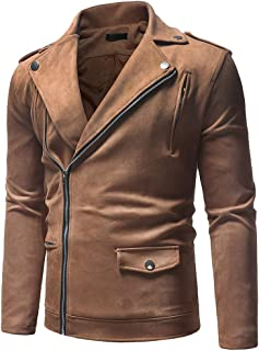 MIS1950s Men's Casual Motorcycle Jacket Faux Leather Jacket Zipper Outerwear Coat