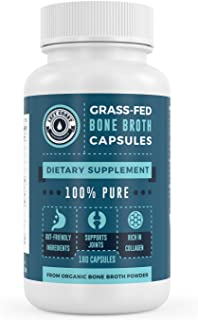 Organic Grass-Fed Bone Broth Capsules with Collagen - 180 Pills. USDA Organic Collagen Supplement. Supports Nails, Hair, Joints and Gut Health. Left Coast Performance