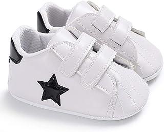 Scarpe da neonato, stile scarpe da tennis, con stella, con suola morbida, Nero (Nero ), 6-12 mesi