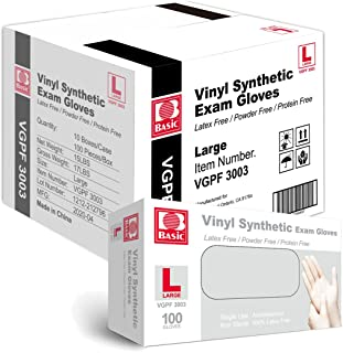 Basic Medical Clear Vinyl Exam Gloves - Latex-Free & Powder-Free - Large, VGPF-3003 (Case of 1,000)