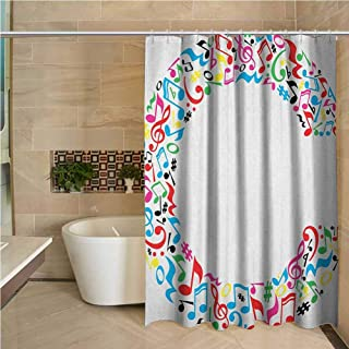 Lohebhuic Letter C Professional Shower Curtain Musical Notes Keys Major Minor Notes Vibrant Colored Image with Capital C Letter Decorative Bathroom Curtains W70 x L84 Inch Multicolor