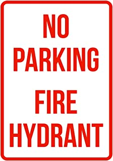iCandy Products Inc No Parking Fire Hydrant Business Safety Traffic Signs Red - 7.5x10.5 - Plastic