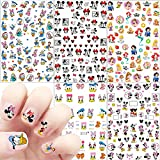 Mick Mouse Nail Art Stickers Decals Cute Cartoon 3D Self Adhesive Nail Art Supplies Cartoon Designer Nail Stickers for Women Kids Girls DIY Nail Design Decals for Acrylic Nails Decoration 5 Sheets
